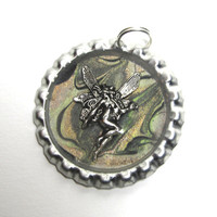Bronze & Gunmetal Marbled Fairy Bottlecap Pendant