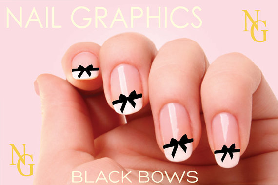 Black Bow Nail Design : Black bows nail decals chanel art from nailgraphics on