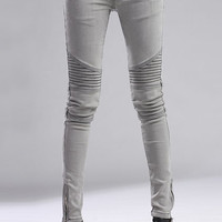 Stretchy Light Grey Skinny Jeans [NCJJ0341] - $89.99 :