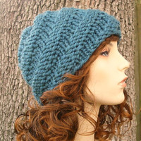 Hand Knit Hat The Swirl Beanie in Teal Blue Winter by pixiebell