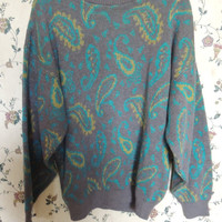 Cute 80s 90s over sized vintage paisley grandpa sweater