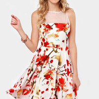 BB Dakota Morgan White Floral Print Dress
