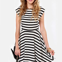 BB Dakota Zamora Black and White Striped Dress