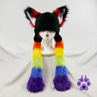 RAINBOW Fur Fox RAVE Hat fleece anime cosplay SKI ear flap nyan cat kawaii