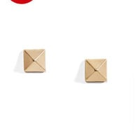 Welcome Matte Gold Pyramid Stud Earrings