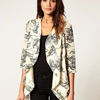 Rare | Rare Butterfly Flocked Draped Jacket at ASOS