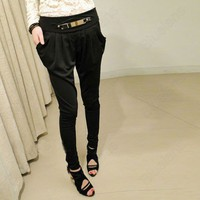 Long Pencil Harem Pants Skinny Trousers Casual {Leopard & Black}