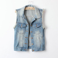 Retro Fashion All-match Denim Vest from Showmall