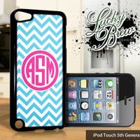 NEW iPod Touch 5 Case - Personalized Monogram Chevron Blue and Pink - 5 Gen Cover GEN5