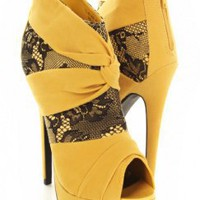 Mustard Velvet Pleated Lace Overlay Peep Toe Bootie Heels