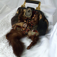 Leather goth handbag animal steampunk beaded by HopscotchCouture