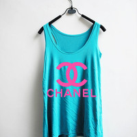 Chanel Tank Top -Hot Pink Chanel Logo