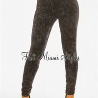 Black Acid Wash High-Waist Leggings