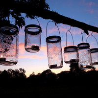DIY Hanging Mason Jar Luminary Lantern Lids - Set of 12
