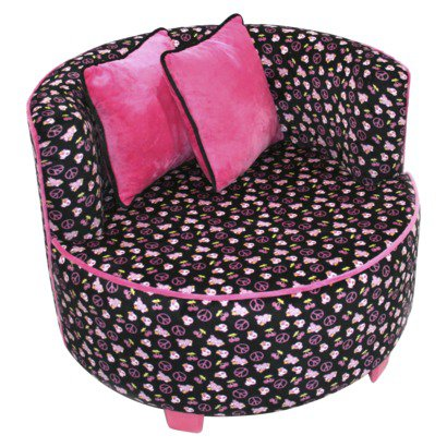 Magical Harmony Kids Redondo Minky Black Skull Chair