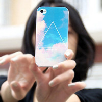 Beautiful Triangle Sky Blue Case for iPhone4/4S