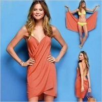 Womens/Lady Low Open-Back Wrap Front Summer Swimwear Bikini Cover Up Beach Dress