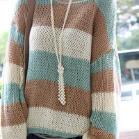 Comfy Colorful Stripes Knitted Sweater
