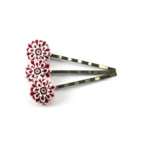 Crimson Red Chrysanthemum Bobby Pins Set