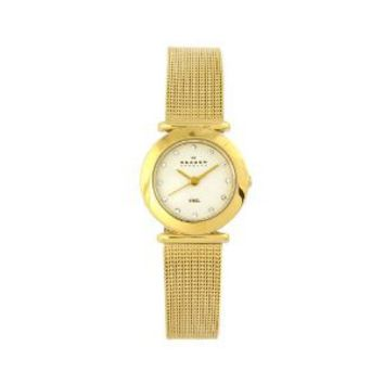 Skagen Women's 107SGGD Classic Swarovski Crystal Gold Tone Mesh White Dial Watch: Watches: Amazon.com