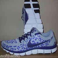 Women's NIKE FREE 5.0 V4 Leopard Animal Purple Running Shoes Size 7.5 RARE
