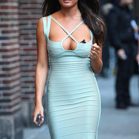 Aqua Foam Bodycon Bandage Dress