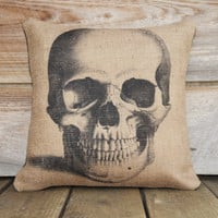 Skull Pillow Cover, Halloween Decoration, Spooky, Porch, Trick or Treat, Party Decor, 16x16