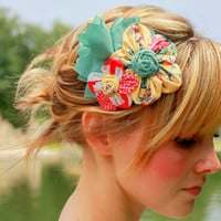 Flower Cluster Headband Yellow Coral and Mint Green by JustLiv