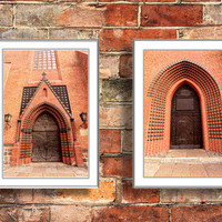 Architectural photography Gothic Door  wall art  architecture Industrial home decor brown bricks Set of Two 4x6 Fine Art Photography Prints