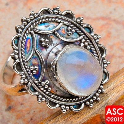 RAINBOW MOONSTONE 925 STERLING SILVER RING SIZE 7 1/2 JEWELRY