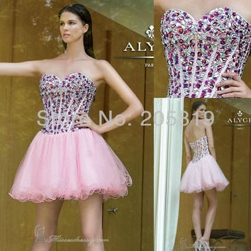 Aliexpress.com : Buy 2013 New Arrival A Line Strapless Beading Sequins Mini Prom Short Dress, IWD4285 from Reliable short prom dresses suppliers on iWeddingDressesShop