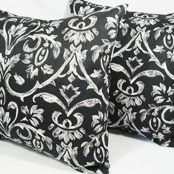 Two Damask Throw Pillows in Black and White - 16 x 16 inches Decorative Throw Pillow Couch Pillow Cover Accent Pillow