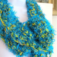 Long neck scarf, blue and green hand spun yarn, fashion neck warmer