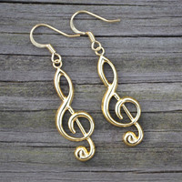 Gold Treble Clefs . Earrings . Large . Music Notes Collection