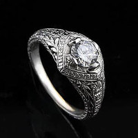 Diamond Engagement Filigree Ring 14K White Gold