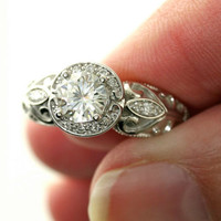 14K Vintage Moissanite Engagement Ring Diamond Halo Art Nouveau Moissanite Ring Custom Bridal Jewelry
