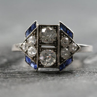 Antique Art Deco Diamond & Sapphire Engagement Ring