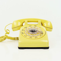 Canary Yellow Rotary Telephone   Bell Systems by thewhitepepper
