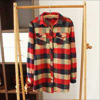 College Thicken Long Sleeve Grid Shirt