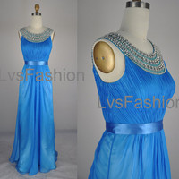Straps with Beading and Crystal Long Chiffon Blue Evening Dresses, Evening Gown, Prom Dresses, Prom Gown, Wedding Party Dresses
