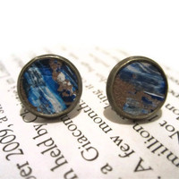 Blue and White Leather Stud Earrings, Leather Earrings, Earstuds
