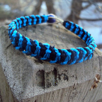 Macrame Bracelet Hemp Fishbone Knot Blue Black