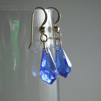 Blue Swarovski with 14K Gold Filled Earring Hooks by MaesDesigns
