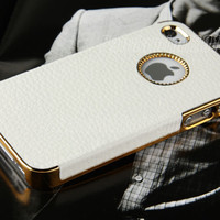White Chrome Genuine Leather Hard Case Cover For iPhone 4S 4 4G Screen Protector