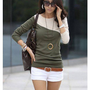 # Free Shipping # Women Green Cotton Top One Size WO0384gr from ViwaFashion