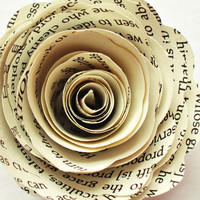 Paper Flowers // Vintage Wedding Paper Roses Book Page Flowers