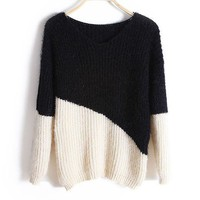 Fluffy Knit Jumper with Color Block Design in Black and Beige