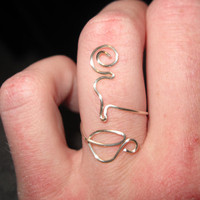 Wire Wrapped Coffee or Tea MADE to ORDER Adjustable Ring