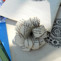 Pretty Paper Flowers 12 made from Upcycled Book Pages by BookCraft