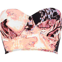 Pink marble print bustier bikini top